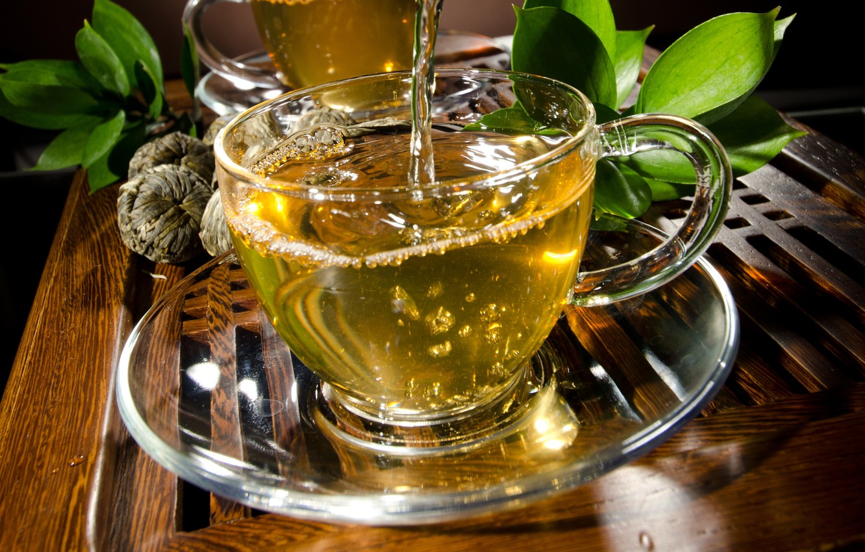 Photo wallpaper leaves, tea, drink, saucer