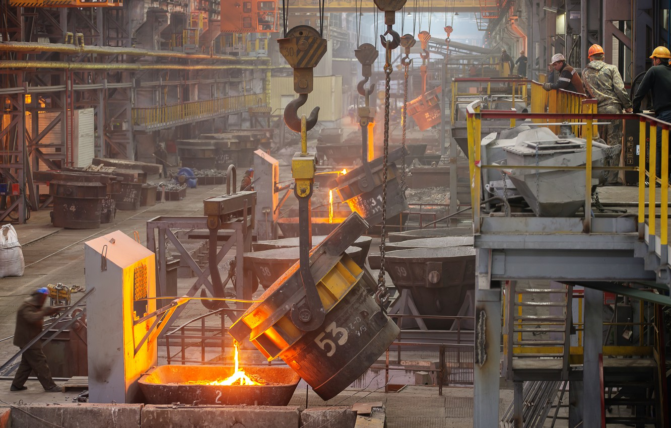 Photo wallpaper industrial, machinery, foundry, molten metals
