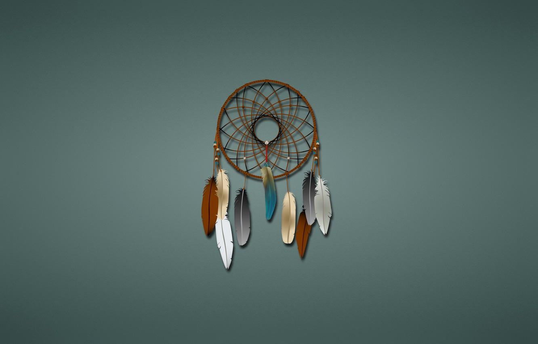 Photo wallpaper mesh, round, minimalism, feathers, Dreamcatcher, Dreamcatcher
