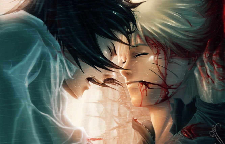 Photo wallpaper rain, blood, tears, naruto, uchiha sasuke, Uzumaki naruto