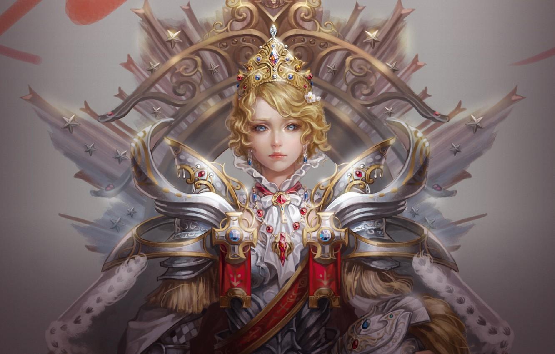 Photo wallpaper girl, crosses, crown, art, helmet, stars, Queen, armor