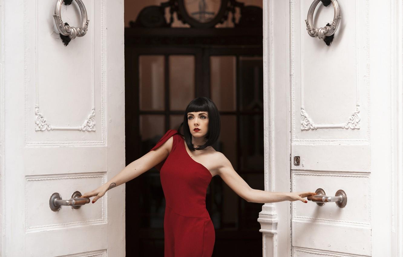 Photo wallpaper girl, style, door, brunette, in red