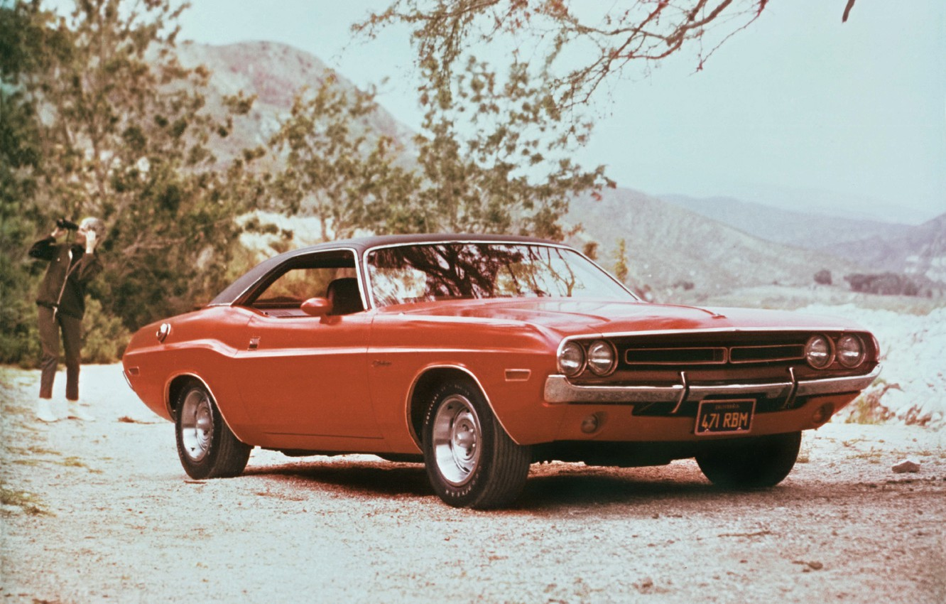Photo wallpaper machine, 1971, Dodge, Challenger, muscle car, the front, handsome