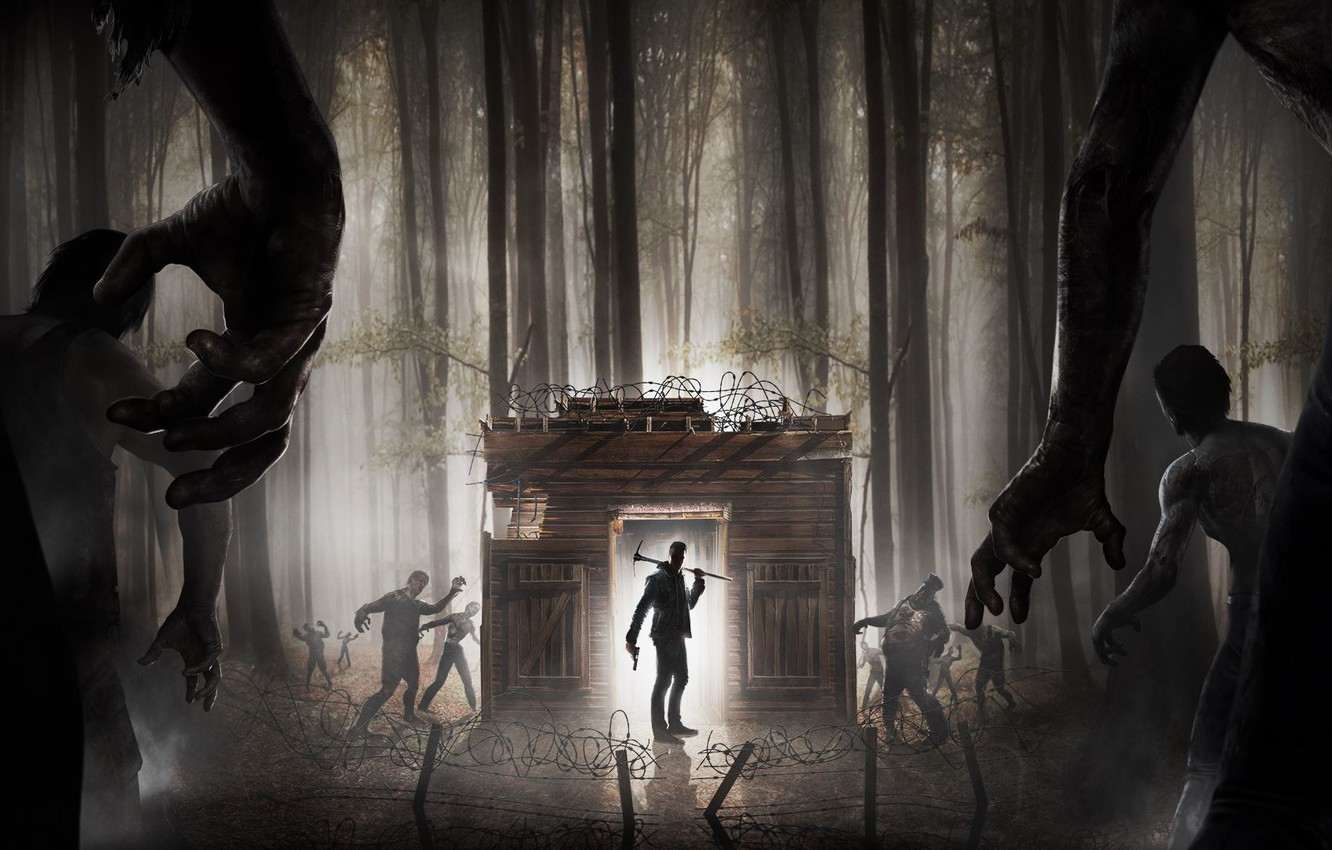 Photo wallpaper Forest, Weapons, Zombies, Kirk, The Fun Pimps, 7 Days to Die