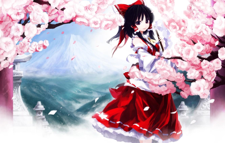 Photo wallpaper girl, flowers, kimono, bow, long hair