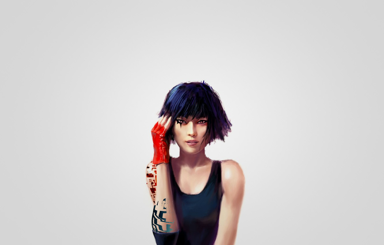Photo wallpaper girl, art, Mirror's Edge, Faith, Faith, red glove, Mirror face
