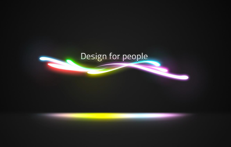 Photo wallpaper line, neon, design for people