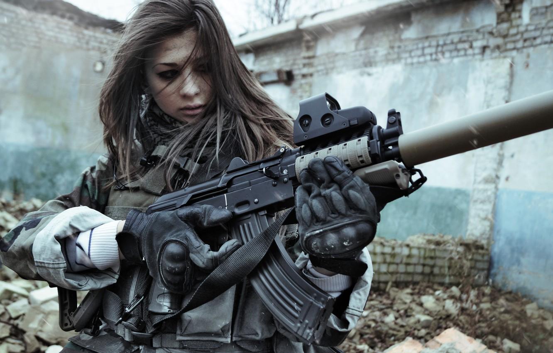 Photo wallpaper eyes, weapons, girls, war, beautiful, Stalker, KLGR, KILLGORE