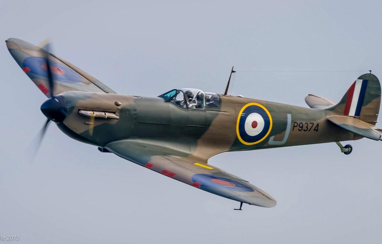 Photo wallpaper retro, the plane, fighter, pilot, parade, Supermarine Spitfire