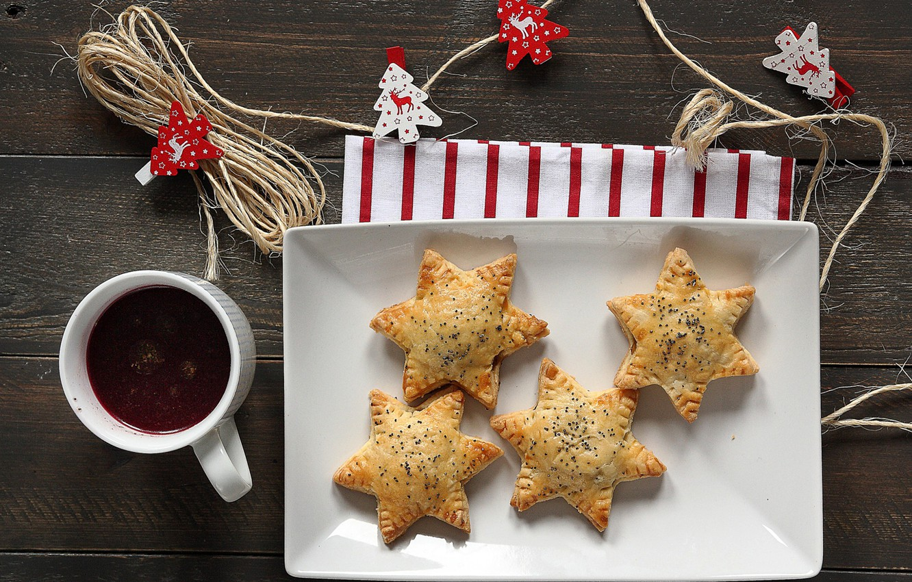 Photo wallpaper stars, table, Mac, cookies, Cup, drink, stars, cakes, Christmas