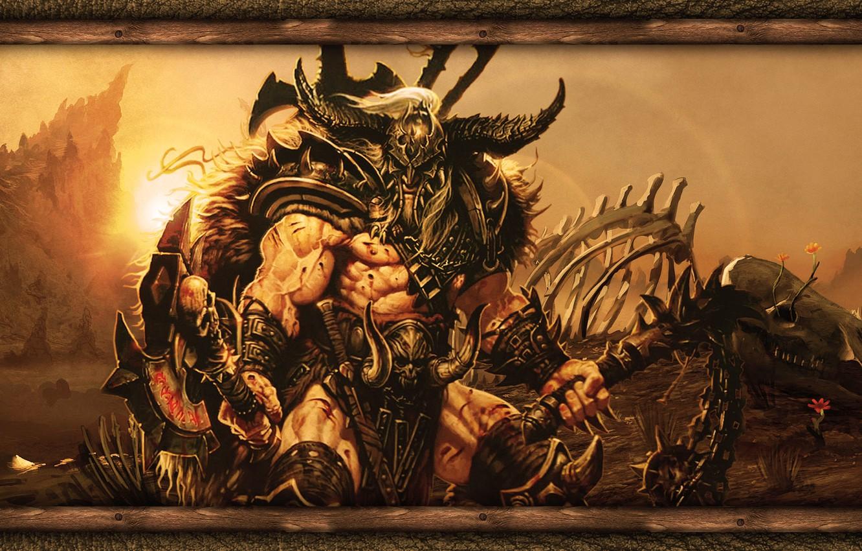 Photo wallpaper Games, Diablo, Honnoror, Barbarian