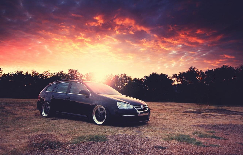 Photo wallpaper the sky, the sun, sunset, Volkswagen, Blik, Golf, Golf, Volkswagen, Type 1K, 5-door