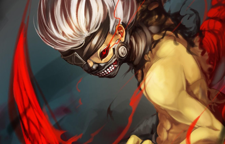 Photo wallpaper red, eyes, castle, mask, art, guy, Tokyo Ghoul, Ken Kanek, Tokyo ghoul, Tokyo monster
