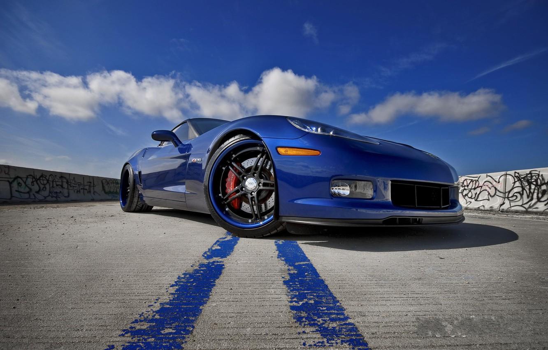 Photo wallpaper blue, Z06, Corvette, Chevrolet