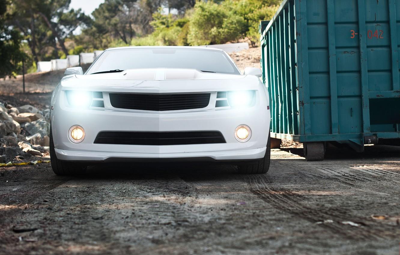 Photo wallpaper white, white, Chevrolet, camaro, chevrolet, headlights, Camaro