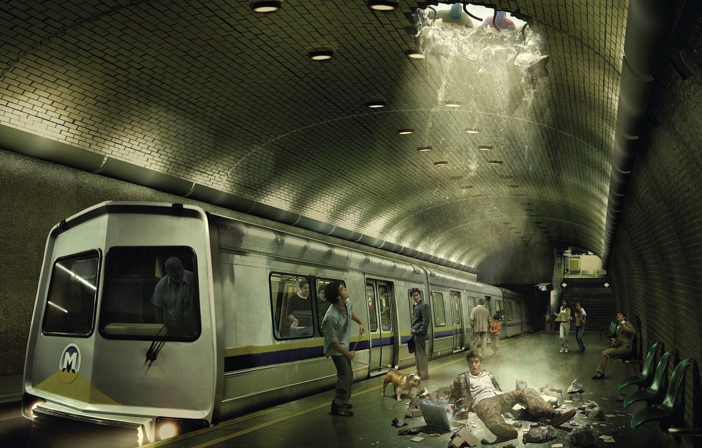 Photo wallpaper fantasy, metro, fright