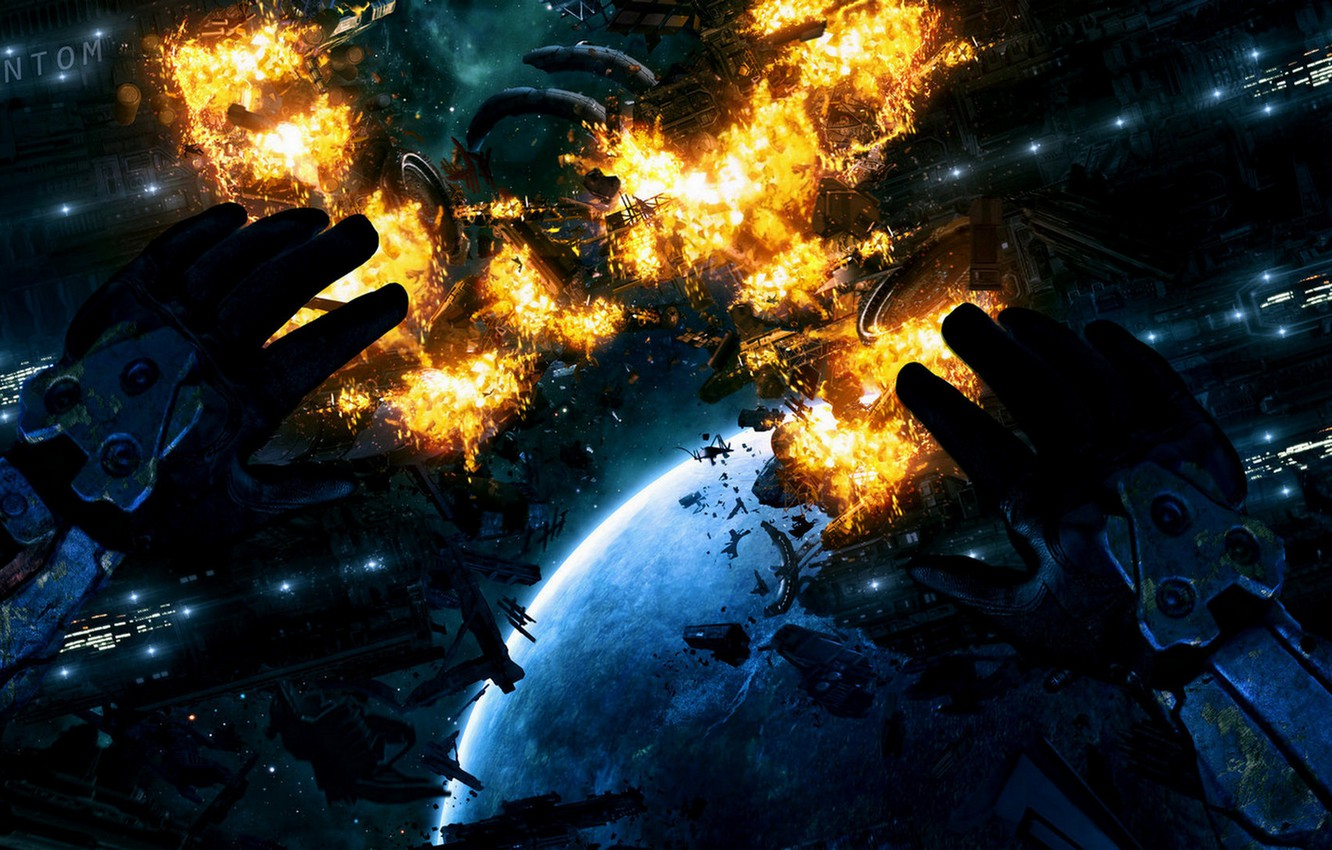 Photo wallpaper space, the explosion, future, ship, planet, disaster, hands, Akimov Mikhail, AMM