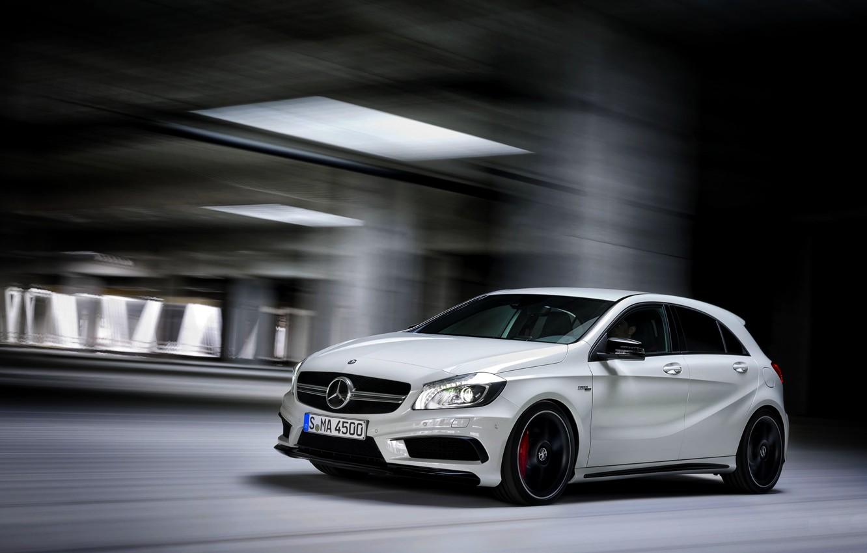 Photo wallpaper Mercedes-Benz, Auto, White, Machine, Mercedes, Mercedes, AMG, In Motion, A45