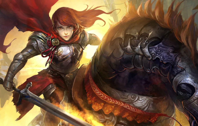 Photo wallpaper girl, red, horse, sword, rider, art, cloak, legend of cryptids