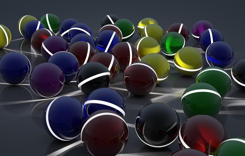 Photo wallpaper surface, line, reflection, strip, balls, art, different, sphere