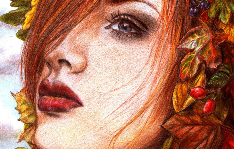 Photo wallpaper look, leaves, girl, face, berries, hair, makeup, painting, red lips