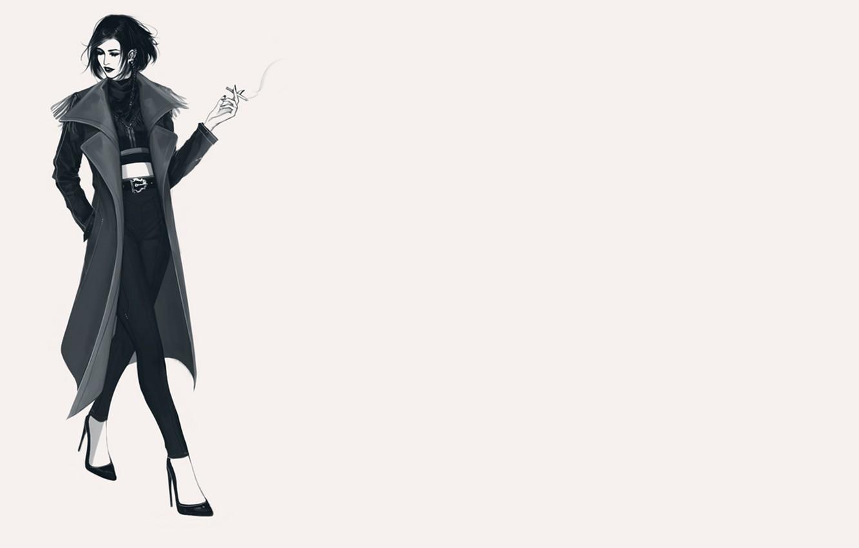 Photo wallpaper girl, cigarette, shoes, coat, is
