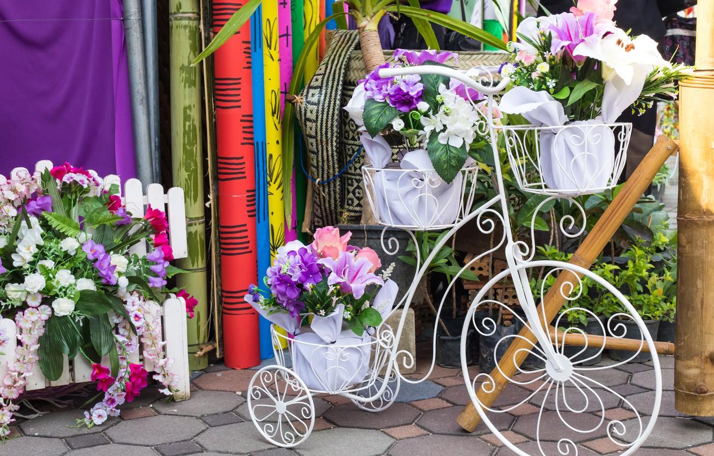 Photo wallpaper flowers, bike, bouquet, flowers, floral