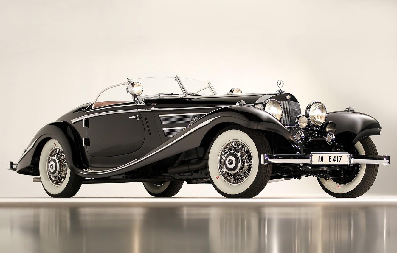 Photo wallpaper black, cars, Mercedes, 540K, Special Roadster, 1936, classic