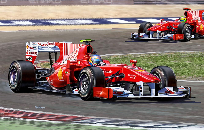 Photo wallpaper figure, team, race, Ferrari, pilot, the car, Fernando Alonso, Felipe Massa, Fernando Alonso, Formula 1, …