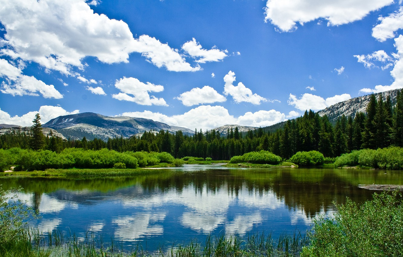 Photo wallpaper greens, summer, the sky, clouds, mountains, lake, spring