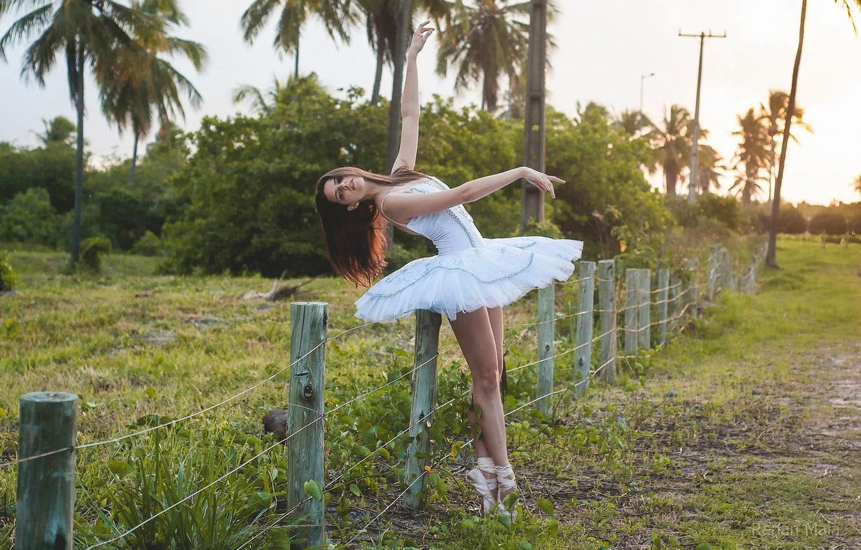 Photo wallpaper girl, nature, ballerina