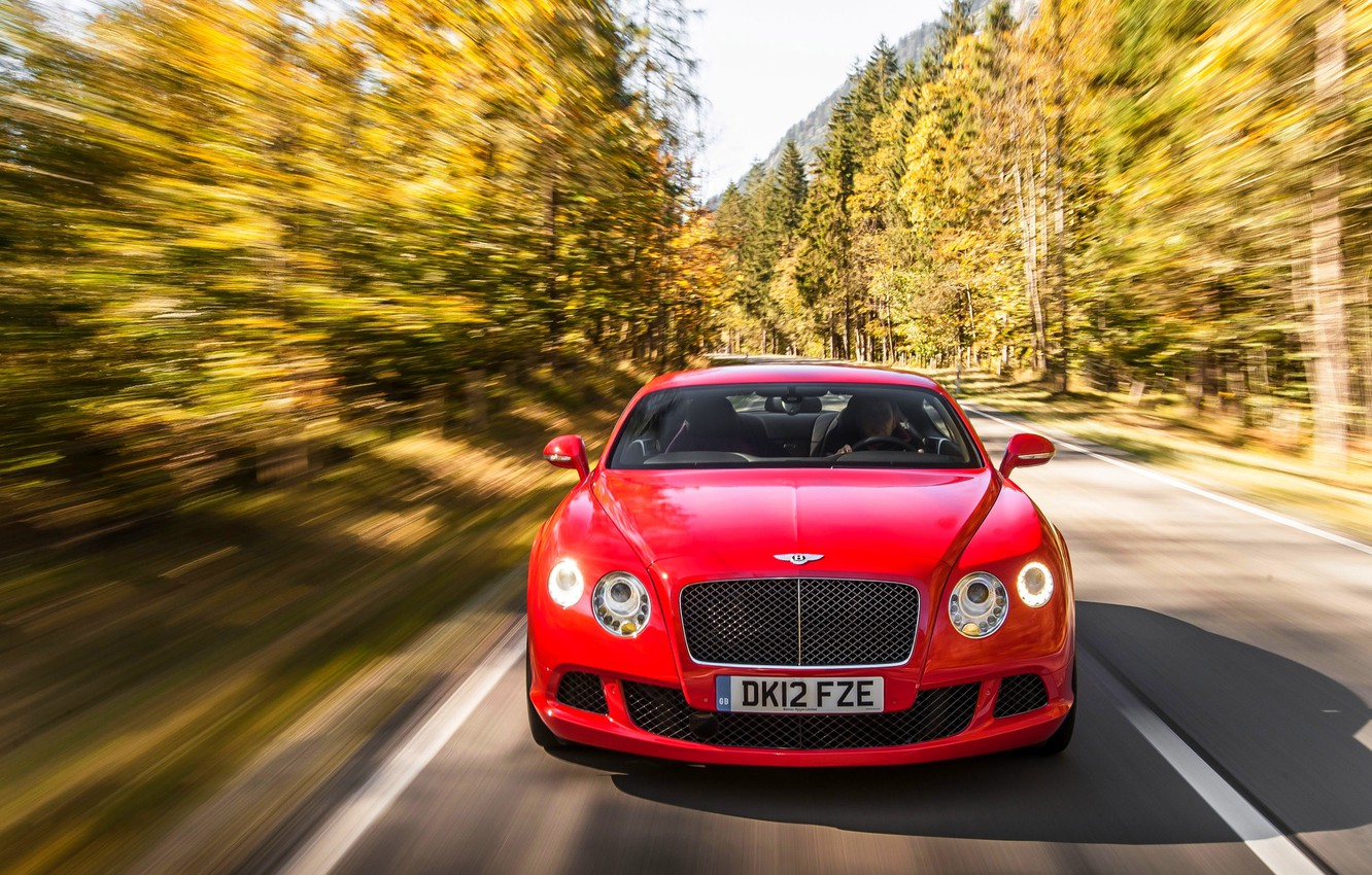 Photo wallpaper Red, Auto, Bentley, Continental, Forest, Machine, The hood, Lights, The front, In Motion