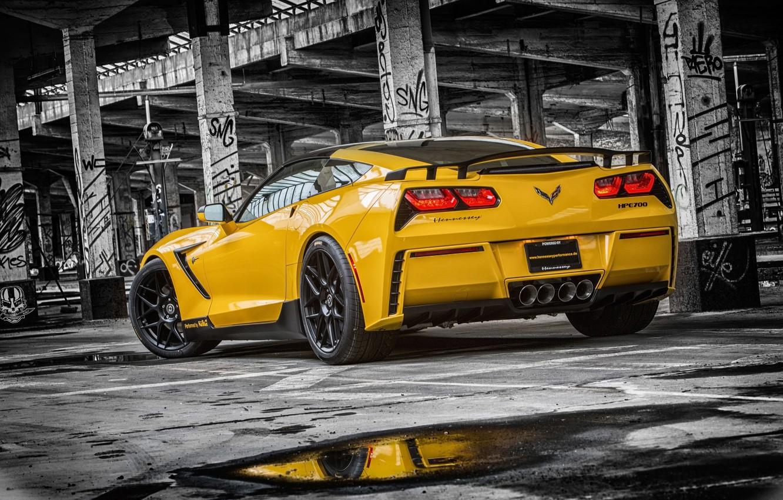 Photo wallpaper Corvette, Chevrolet, Muscle, Car, Yellow, Stingray, Rear, HPE700, 2015, Ruffer