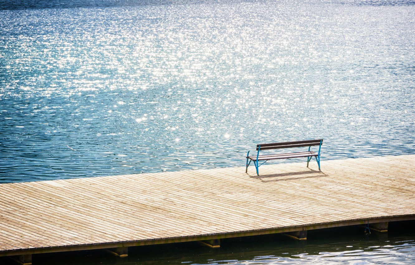Photo wallpaper sea, wave, water, the sun, bench, glare, river, background, widescreen, Wallpaper, mood, calm, silence, waves, …