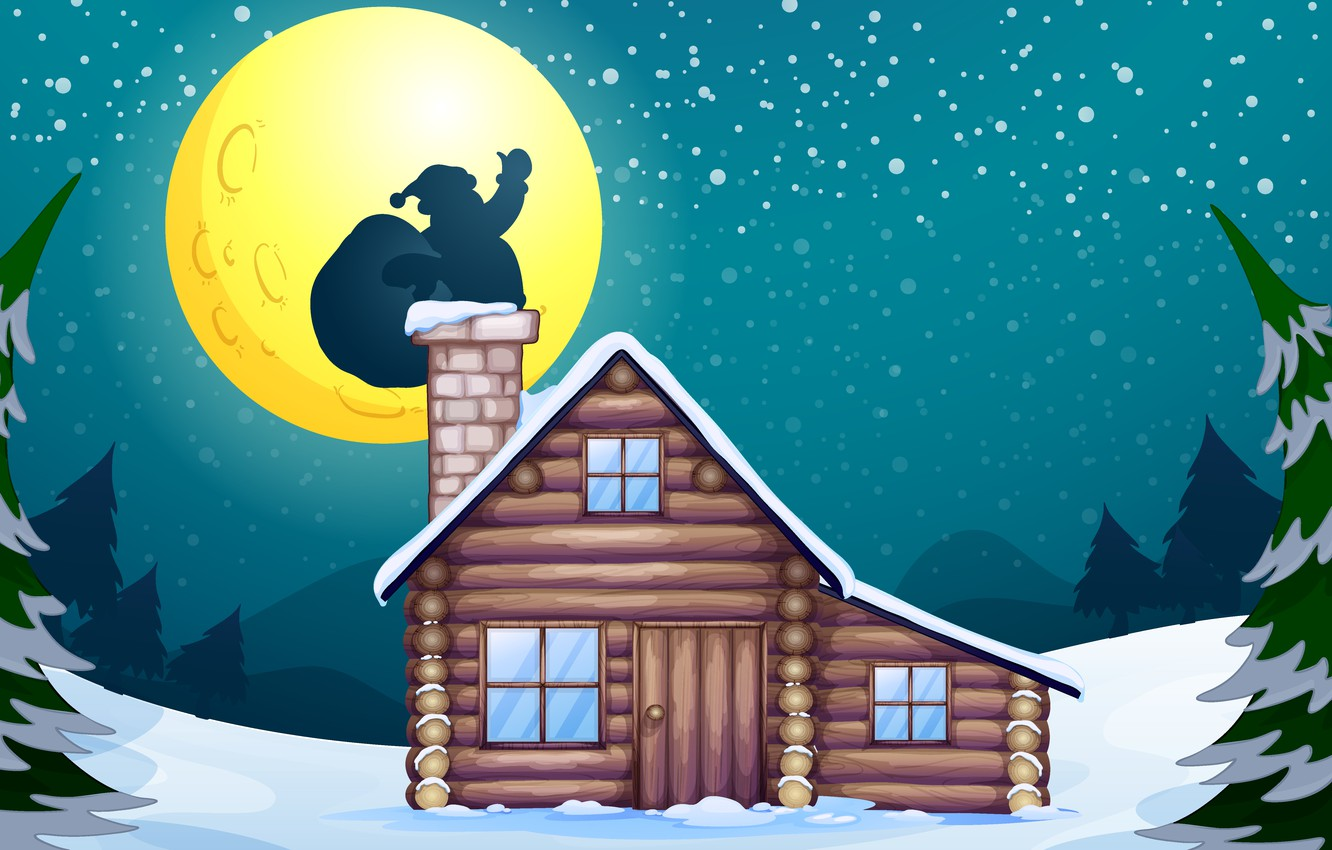 Photo wallpaper snow, house, tree, the moon, vector, graphics, new year, Christmas, vector, moon, fireplace, house, christmas, …