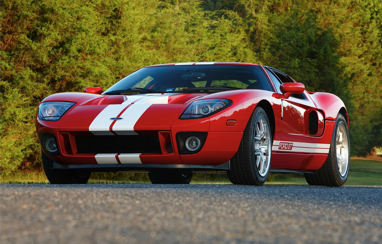Photo wallpaper Ford, Red, road, Stripes, GT