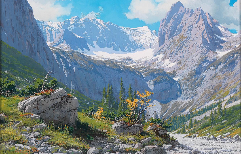 Photo wallpaper road, landscape, mountains, stones, slope, Rudolf Resch REITHER