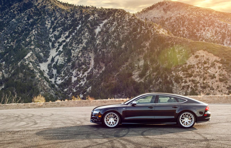 Photo wallpaper mountains, Audi, Audi, black, wheels, side, black