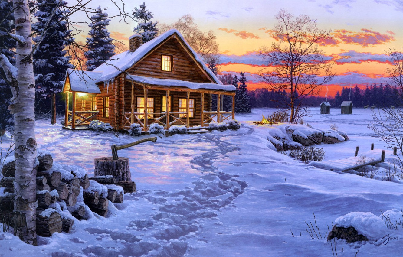 Photo wallpaper winter, snow, house, fire, spruce, the evening, the fire, wood, birch, hut, axe, painting, Nega, …