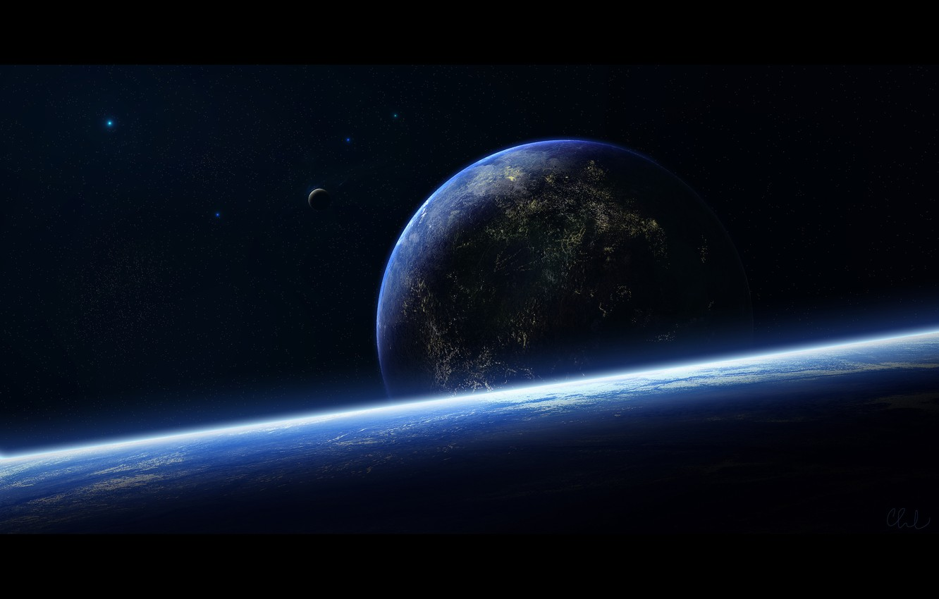Photo wallpaper stars, surface, the moon, planet, the atmosphere