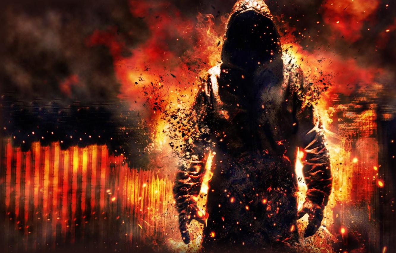 Photo wallpaper fire, flame, smoke, being, the demon, Ghost, hood, hoodie