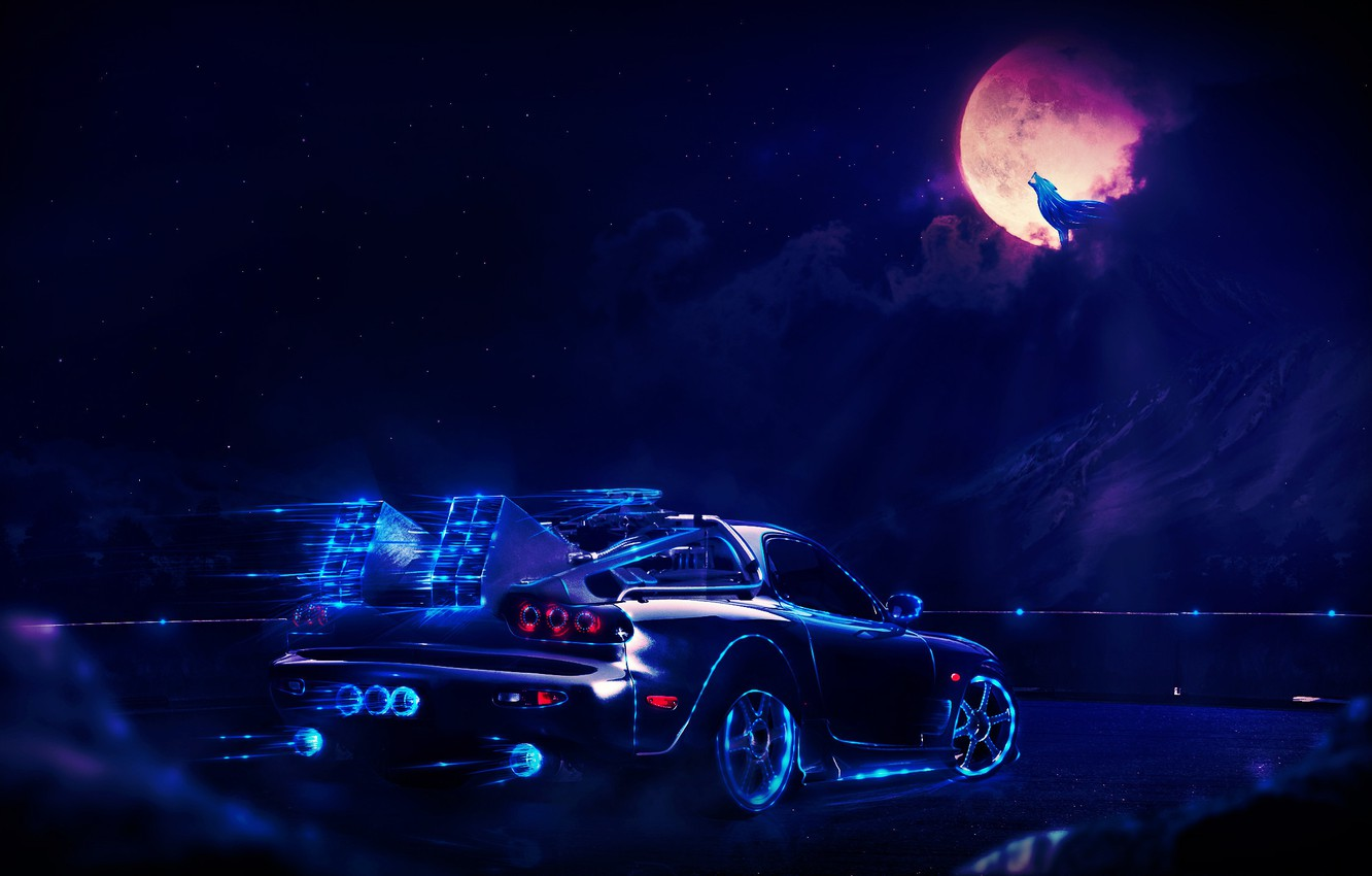 Wallpaper Car Dark Light Red Moon White Black Blue Rx7 Pink Cloud Machine Street Neon Wolf Purple Images For Desktop Section Fantastika Download