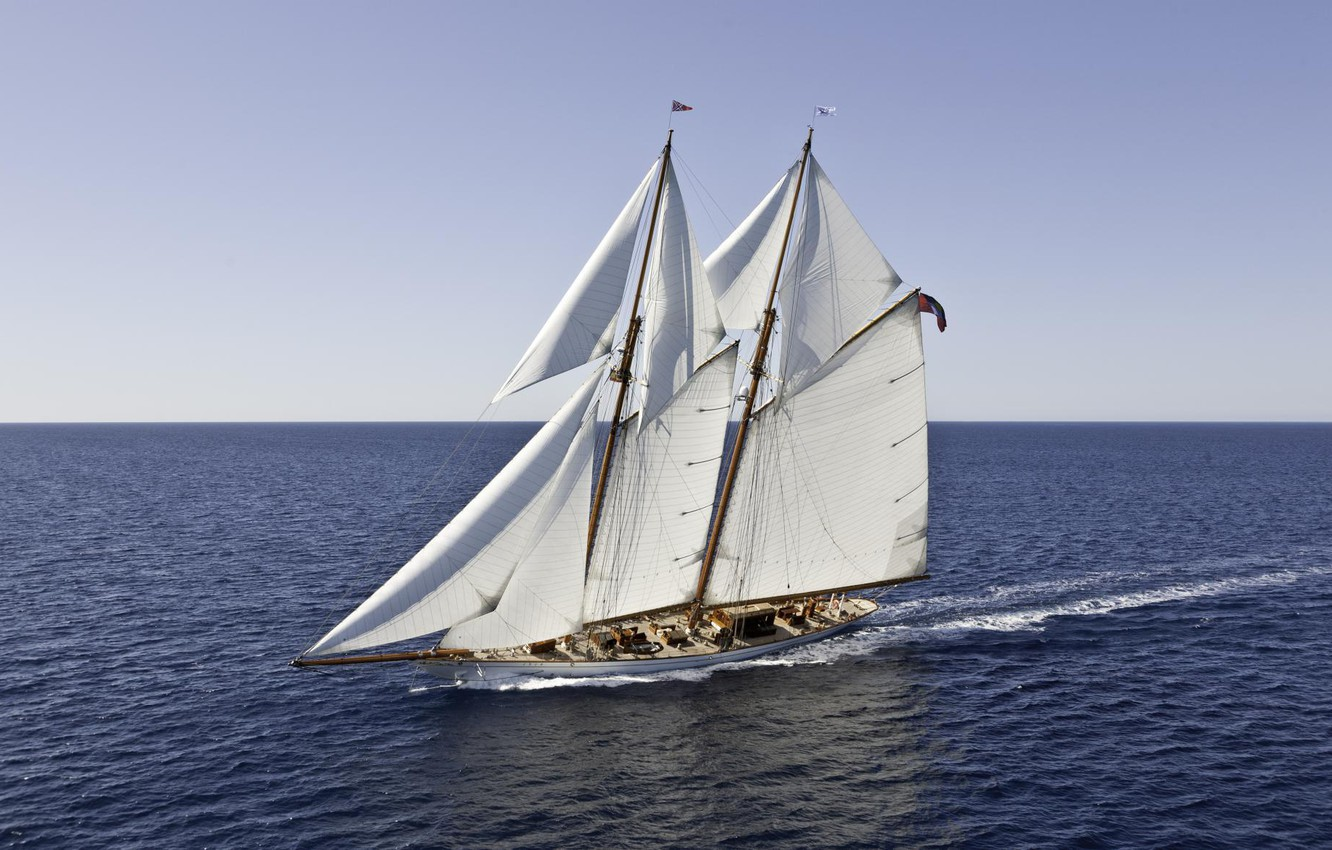 Photo wallpaper the way, the ocean, the wind, yacht, sails