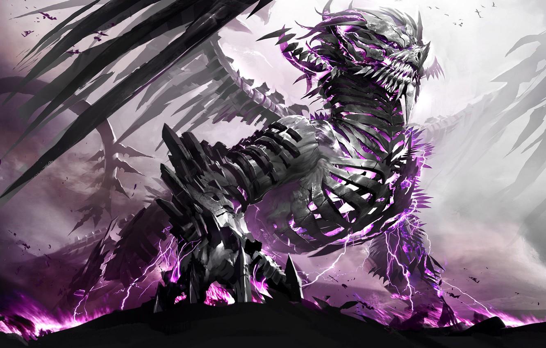 Photo wallpaper dragon, Monster, skeleton, Fantasy, Dragon, Dragon skeleton