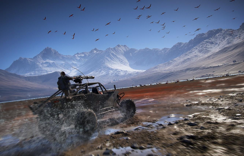 Photo wallpaper mountains, Machine, machine gun, Ghost Recon Wildlands
