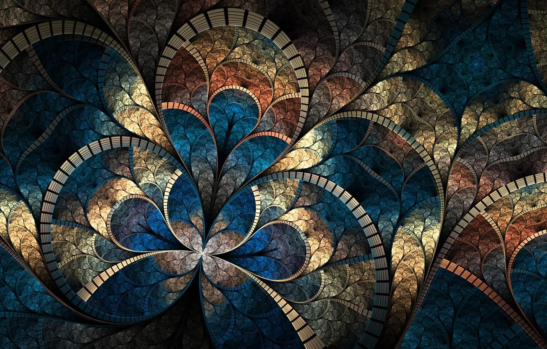 Photo wallpaper mosaic, abstraction, curves, brightness, fractal pattern