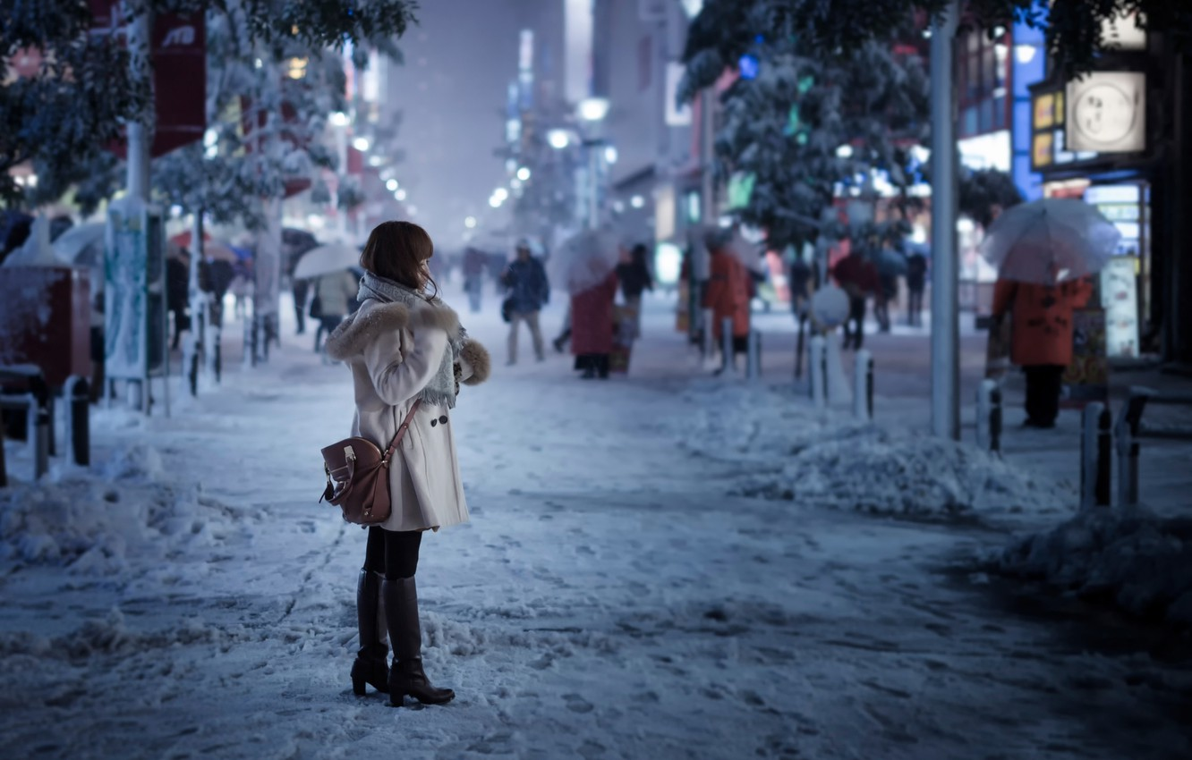 Photo wallpaper girl, snow, the city, street, Tokyo, Snowy day