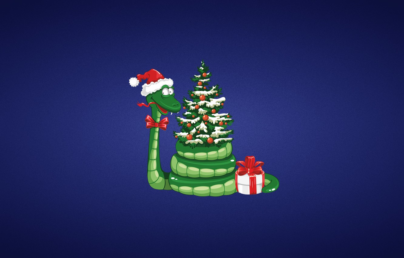Photo wallpaper gift, toys, tree, new year, snake, new year, bow, green, purple background, Christmas hat