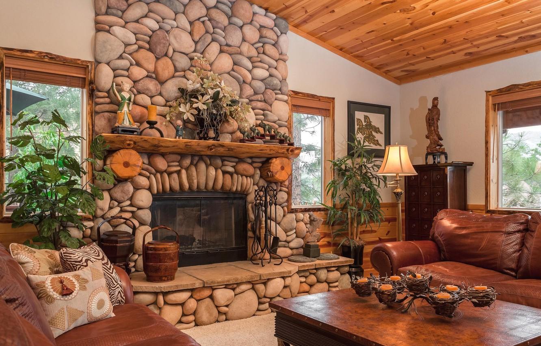 Photo wallpaper light, stones, table, sofa, lamp, window, fireplace, floor lamp, chest, living room