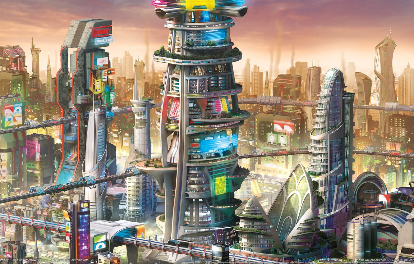 Photo wallpaper the city, future, building, game wallpapers, simulator, SimCity: Cities of Tomorrow